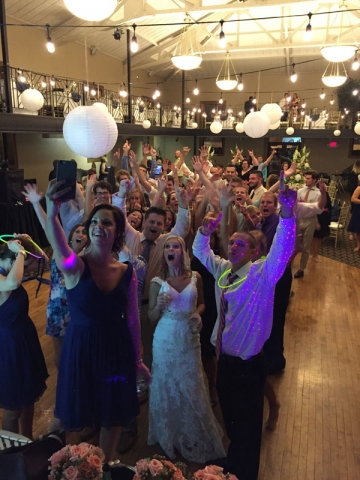 Bride and guests at Nazareth Hall in Grand Rapids, Ohio